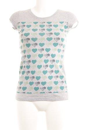 Roxy T-Shirt hellgrau-kadettblau Herzmuster Casual-Look