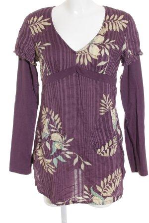 Roxy V-Ausschnitt-Shirt brombeerrot-hellrosa Mustermix