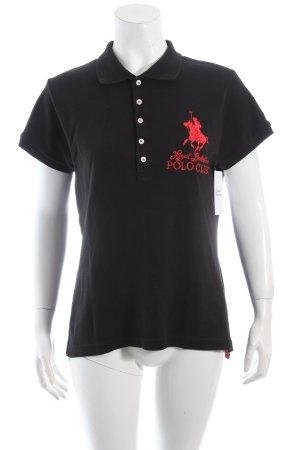 Royal Berkshire Polo Club Polo-Shirt schwarz-rot Logostickerei