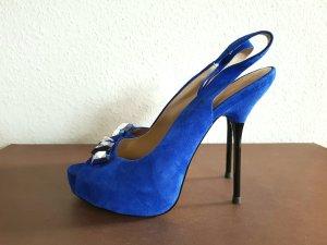 royal blaue sling back platform peeptoes von zara Silvester