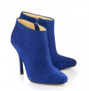 royal blaue stiefeletten high heel ankleboots aus veloursleder