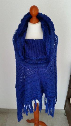 royal-blauer Woll-Poncho, neu mit Etikett