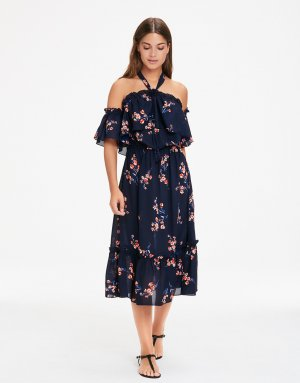 Royal Blaues Kleid Schulterfrei geblümt