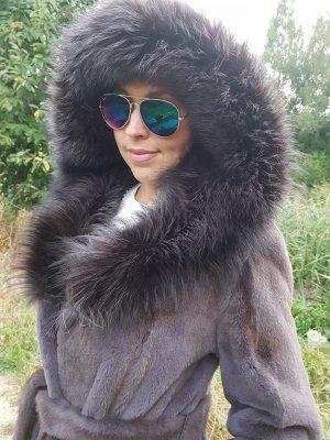 Royal SAGA FURS Pelzmantel geschorener Nerz Fuchs Kapuze FUR sheared mink FOX