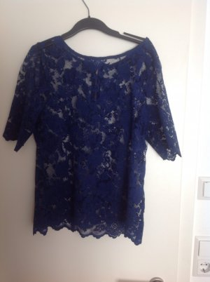 Royalblaue Bluse aus Spitze