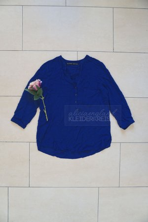 Zara Blusa de manga larga azul-azul acero