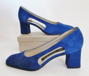 Royalblaue Wildleder Pumps Peter Kaiser Größe 40 6,5 Blau Leder Cut Out Open Abendschuhe Schuhe