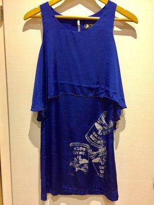 Royalblaues Seidenkleid von der Andy Warhole Kollektion für Pepe Jeans