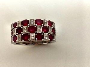 Rubin Diamant Weißgold Ring 3fach edel Echtgold gold Diamanten Brillanten Rubine