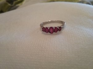 Silver Ring silver-colored-dark red