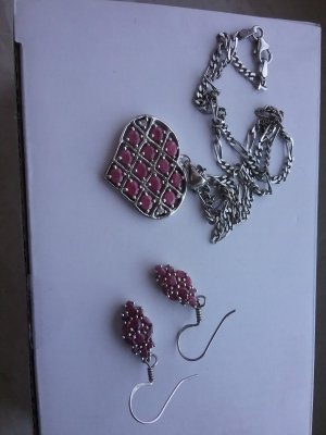 Statement Necklace silver-colored-raspberry-red