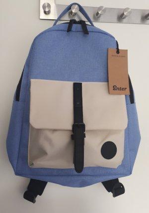 School Backpack cream-azure polyester