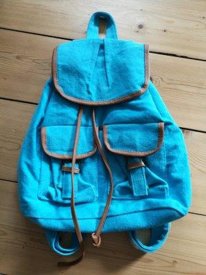 School Backpack cognac-coloured-steel blue