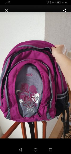 School Backpack grey-pink