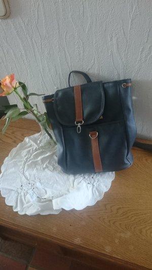 Laptop Backpack blue-beige imitation leather