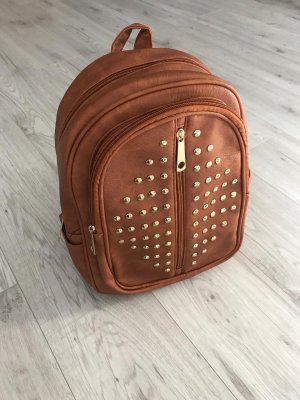 Backpack gold-colored-cognac-coloured