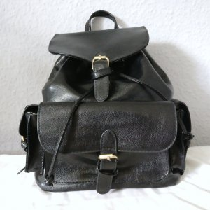 Backpack black-gold-colored imitation leather
