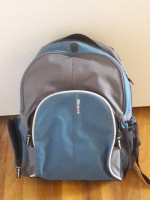 Rucksack grau blau mit Laptoptasche innen
