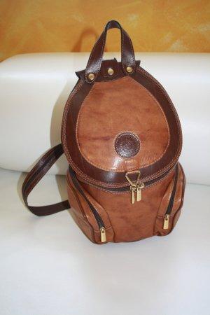 Rucksack groß Kunstleder / braun / Sack / Rucksack / Beutel / Lederimitat / Made in Italy