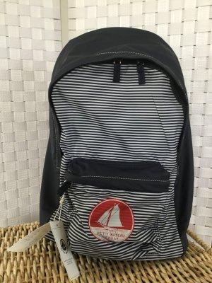 Petit bateau Mini sac à dos bleu foncé-blanc fibre textile