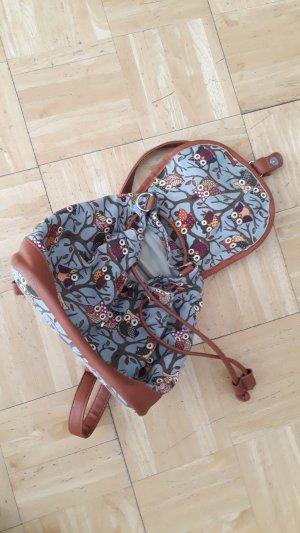 Mini sac à dos gris clair-bleu azur