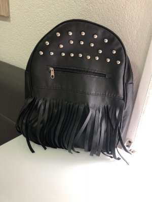 Bolso de flecos negro-color plata Cuero