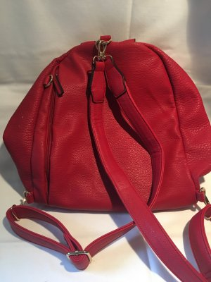 School Backpack red imitation leather