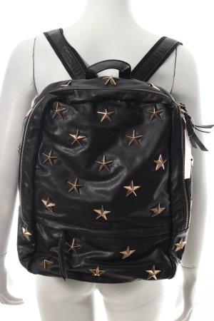 Backpack black-rose-gold-coloured star pattern biker look