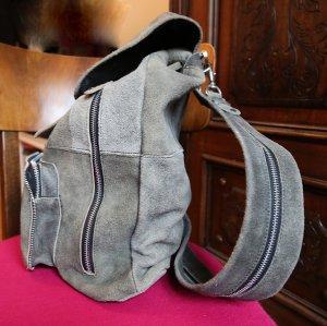 Rucksack Tasche echtes Leder Lederrucksack grau *Unikat NEU