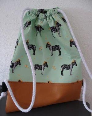 100% Fashion Pouch Bag pale green-bronze-colored cotton