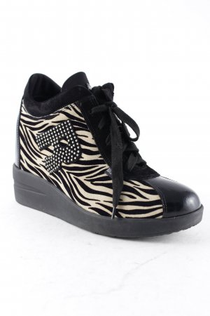 Ruco Line Absatz Sneaker weiß-schwarz Animalmuster Animal-Look