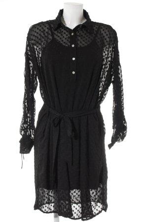 Rue de Femme Abito a maniche lunghe nero motivo a pallini stile casual