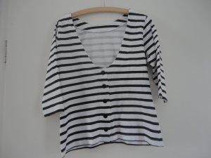 Gestreept shirt wit-zwart Katoen