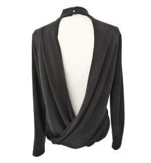 Rückenfrei Bluse S 36 Grau Rollkragen drapiert langarm Shirt