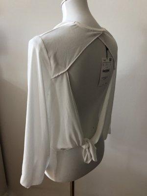 Zara Top schiena coperta bianco sporco-bianco