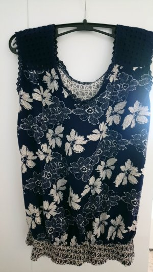 Backless Top dark blue-white cotton