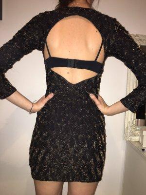 Zara Vestido elástico negro-color oro
