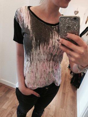 Rückenfreies Sandro Paris Shirt in 100% Leinen in Schwarz, Pink und Weiß