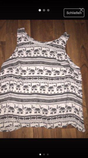 H&M Rugloze top wit-zwart