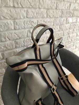Rücksack Lederrücksack Handtasche 2 in 1 neu Leder hell grau