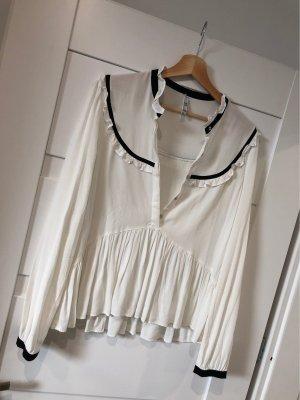 Zara Ruffled Blouse natural white-black