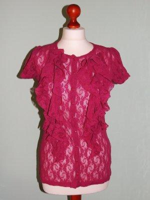 Rüschen-Bluse aus Spitzenstoff in pink Gr. 36