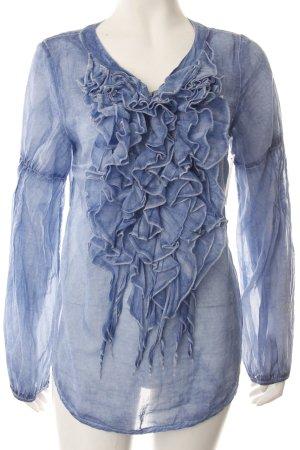 Rüschen-Bluse blau Batikmuster Schmucksteinverzierung