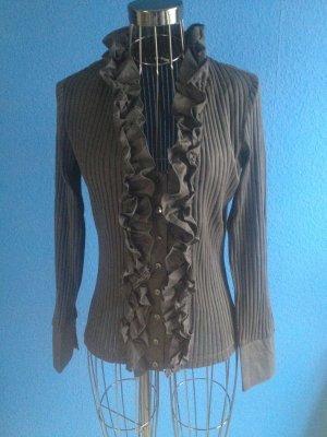 Rüschen-Bluse/Shirt schwarz Rippen-Optik