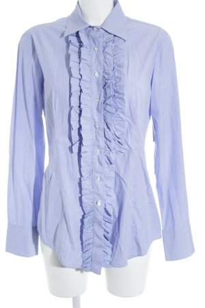 Rüschen-Bluse weiß-kornblumenblau Streifenmuster klassischer Stil