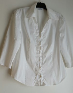 Blouse à volants blanc tissu mixte