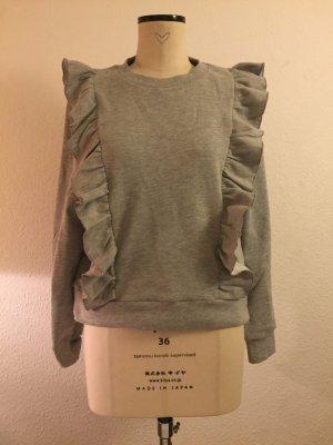 Rüschen Pullover in grau