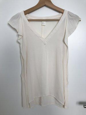 Rüschen-Top H&M Gr. 34/XS Creme-Weiß