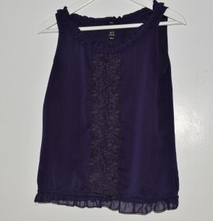 H&M Frill Top dark violet polyester
