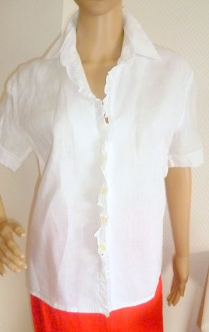 Ruche blouse wit Linnen